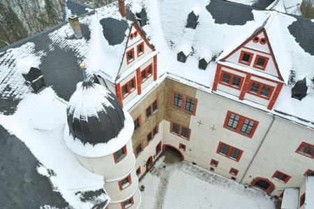 Der Rochsburg aufs Dach geschaut